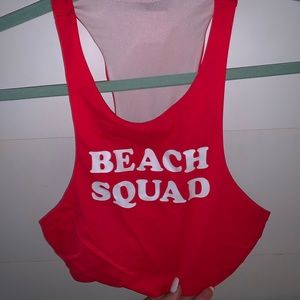 "Red ""beach squad"" bikini top"
